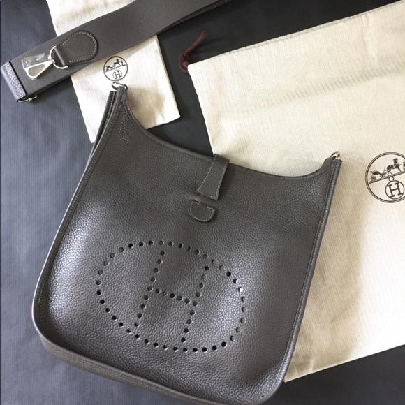 214ab4a9d708 Gray Hermes Evelyne Handbag GM
